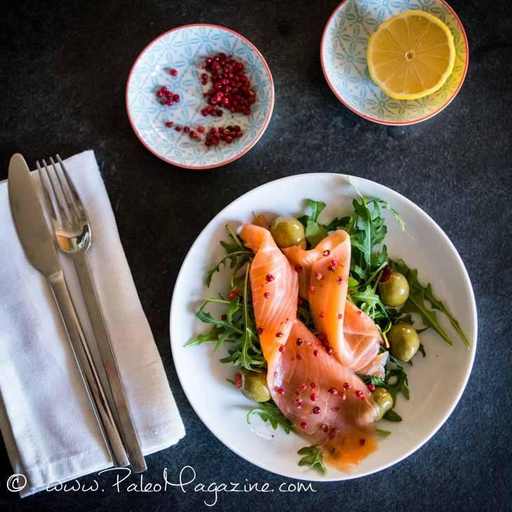 Pink Peppercorn Smoked Salmon Salad Recipe #paleo #keto #recipe #salad https://paleoflourish.com/pink-peppercorn-smoked-salmon-salad-recipe