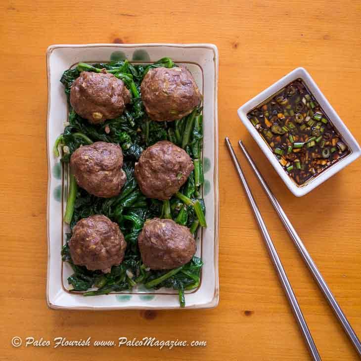 Keto Asian Meatballs Recipe with Dipping Sauce [Paleo, Dairy-Free] #keto #recipe https://ketosummit.com/keto-asian-meatballs-recipe