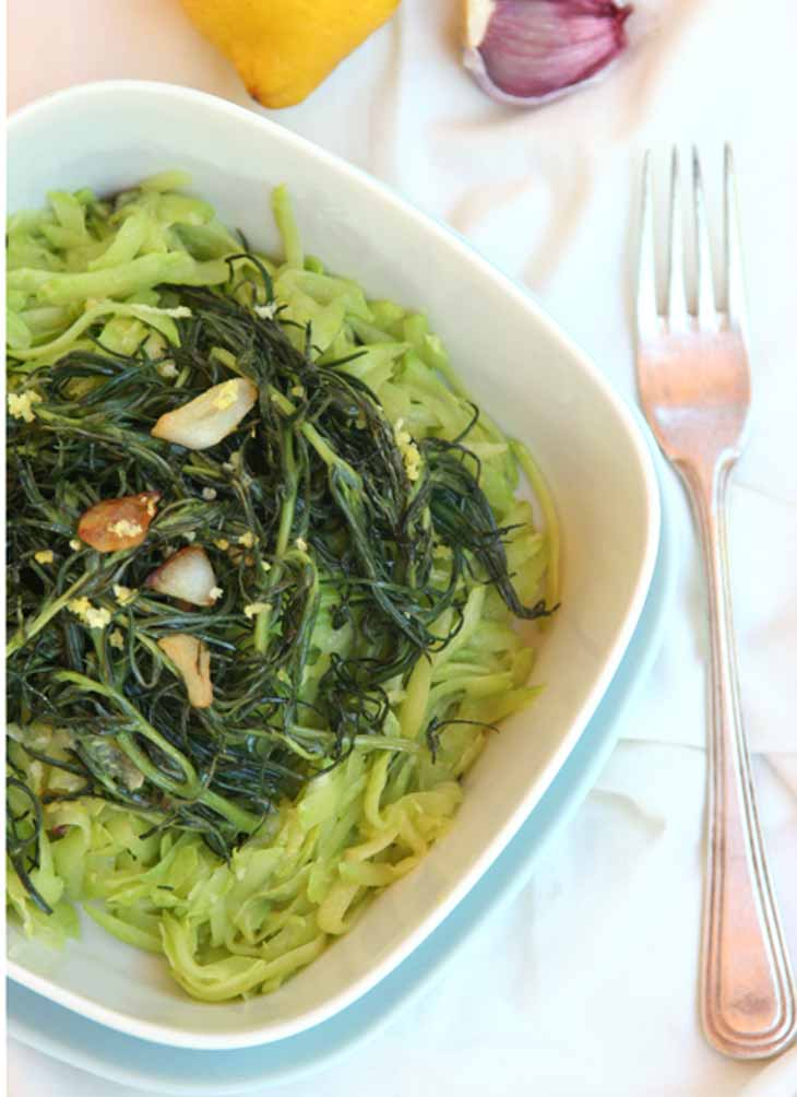 Live Pasta with Agretti and Lemon