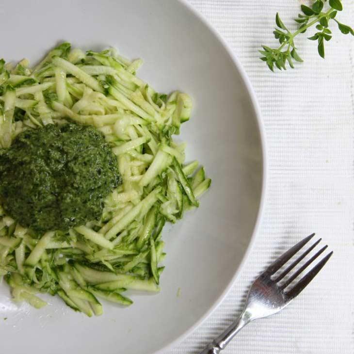 Zucchini Live-pasta with Sorrel, Basil and Hemp-seed Pesto