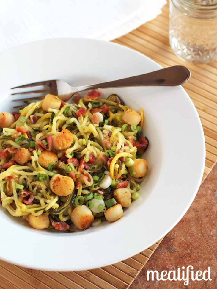 Low Carb Noodles with Scallops and Bacon