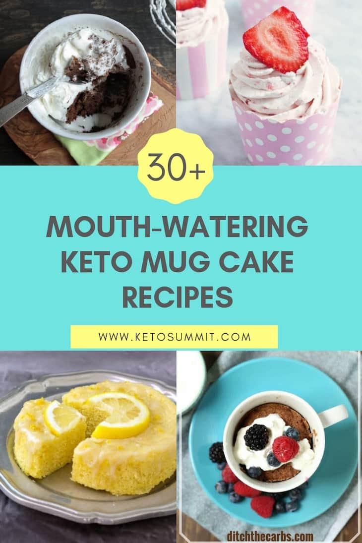 30+ Mouth-Watering Keto Mug Cake Recipes Collage https://ketosummit.com/keto-mug-cake-recipes