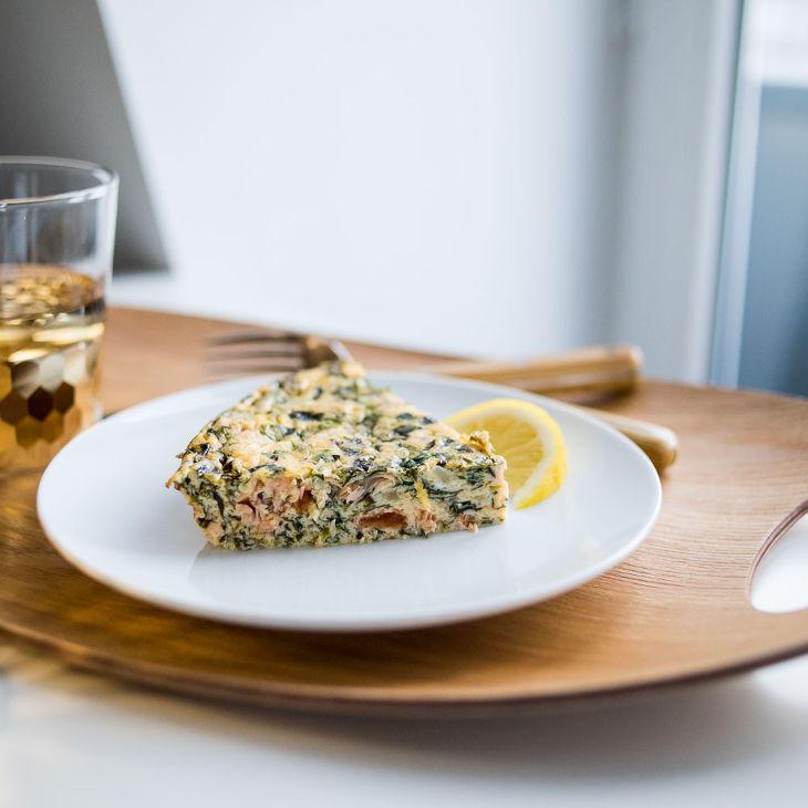 Keto Spinach and Smoked Salmon Quiche