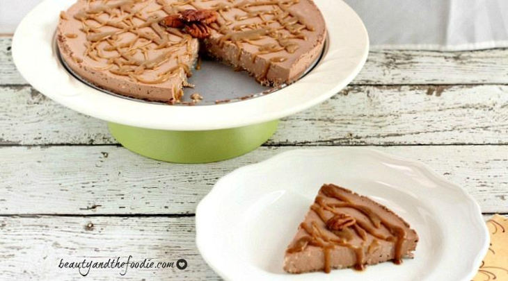 Chocolate mousse caramel pecan keto cheesecake
