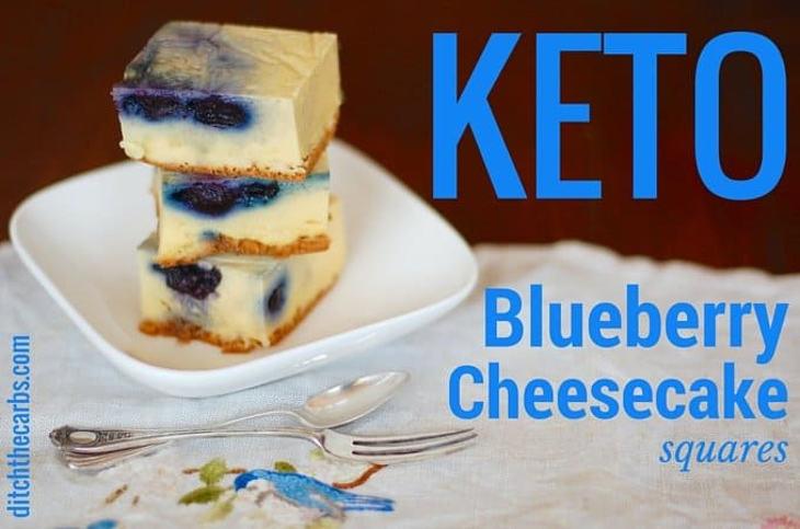 Blueberry keto cheesecake squares