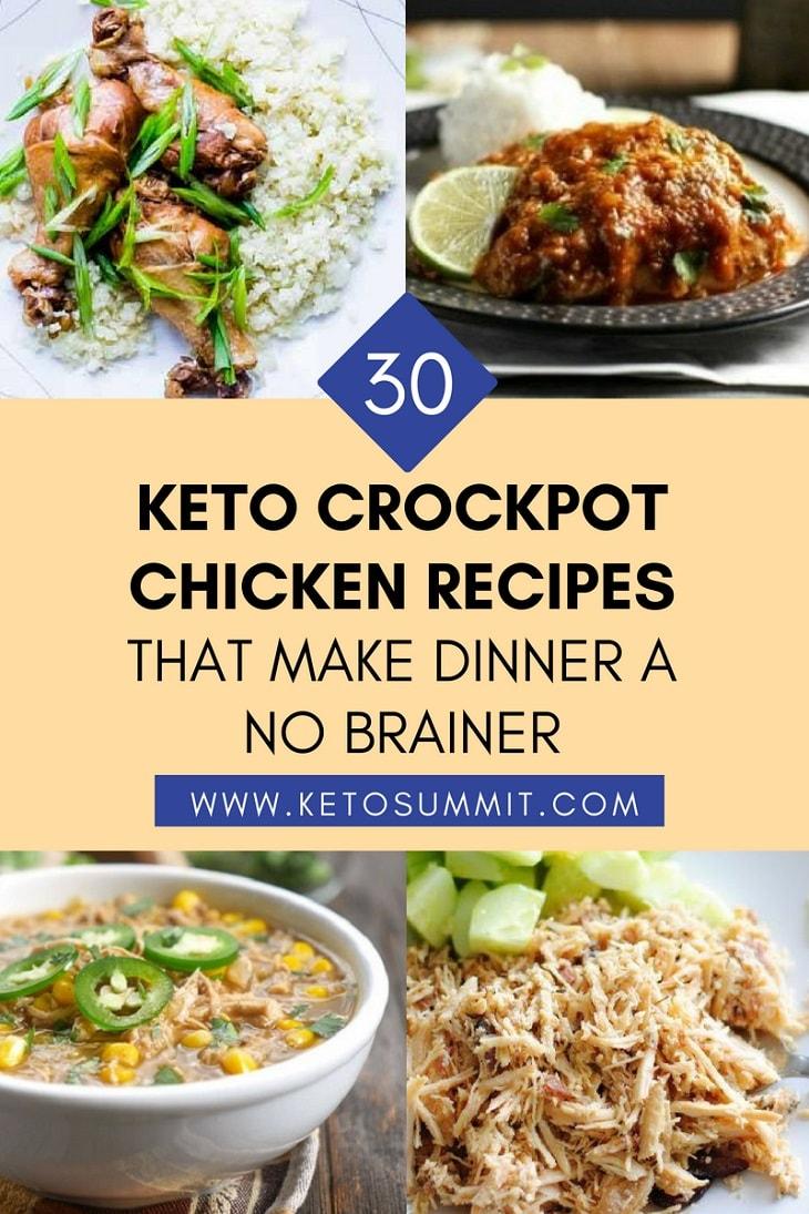 30 Keto Crockpot Chicken Recipes That Make Dinner A No Brainer www.ketosummit.com/keto-crockpot-chicken-recipes