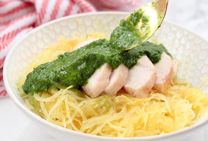keto spaghetti squash pasta with pesto chicken
