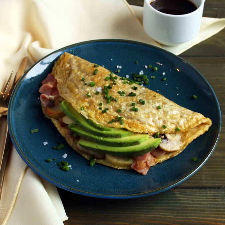 Keto Bacon, Mushroom, and Avocado Omelette