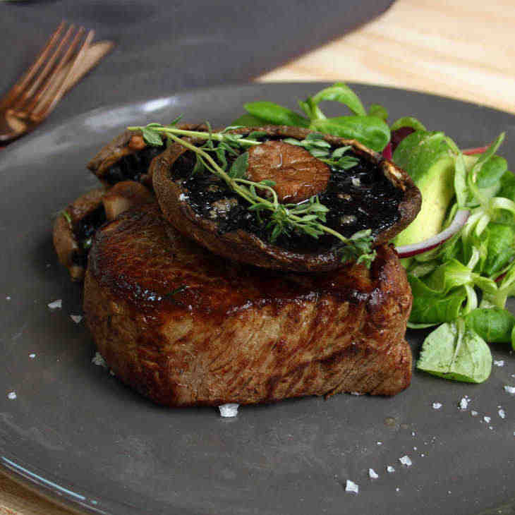 Keto Oven Baked Steak with Garlic Thyme Portabella Mushrooms