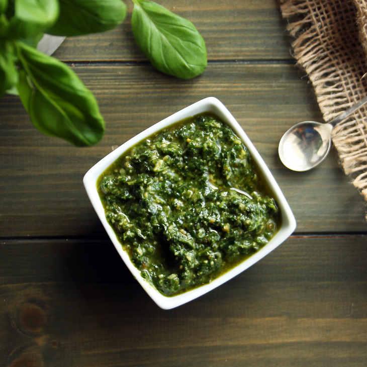 Easy Keto Basil Pesto Recipe [Dairy-Free, No Cheese] #keto https://ketosummit.com/easy-keto-basil-pesto-recipe-dairy-free