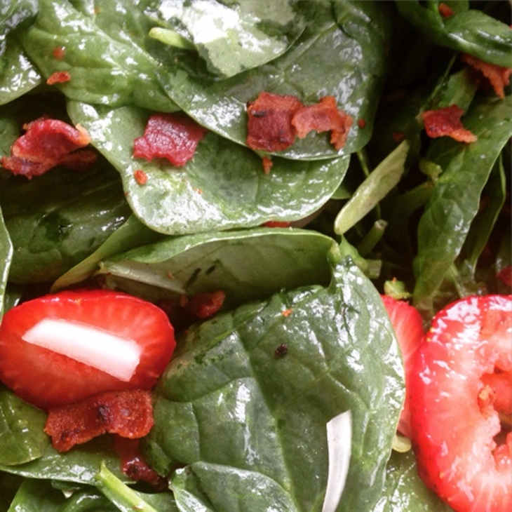 Simple Spinach Salad with Warm Bacon Dressing