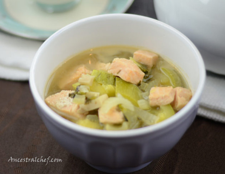 Celery Cilantro Salmon Stew