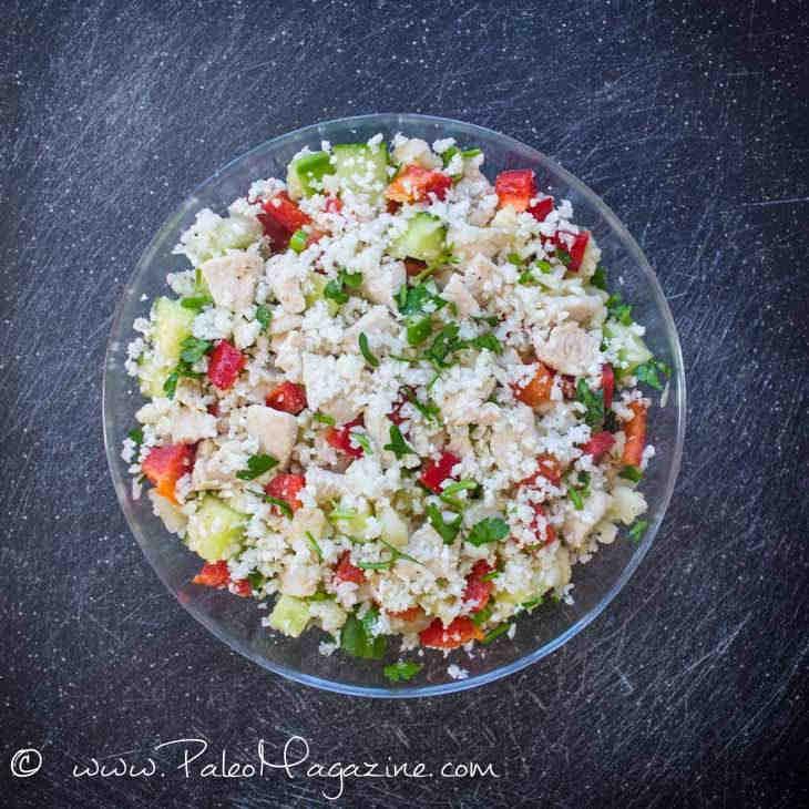 """Keto Chicken Cauliflower """"Couscous"""" Salad"""