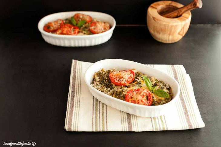 Chicken Pesto Cauliflower Rice Bake