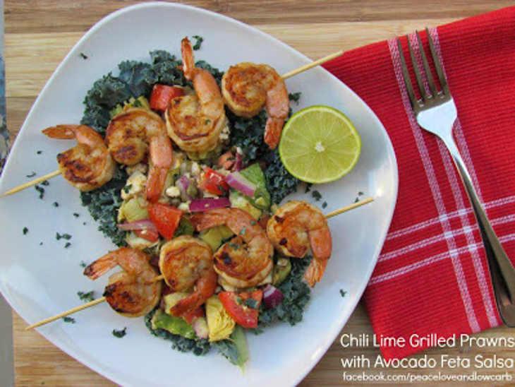 Chili Lime Grilled Prawns with Avocado Feta Salsa