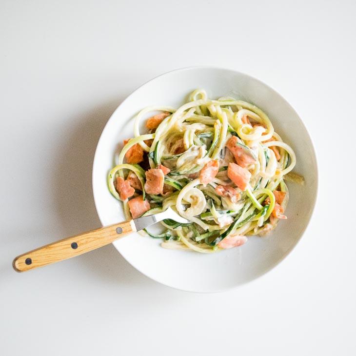 "3-Ingredient Creamy Keto Salmon ""Pasta"" Recipe"