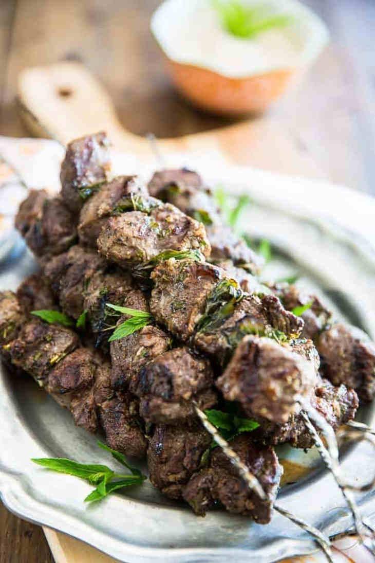 Grilled Lamb Kebabs with Tahini Sauce