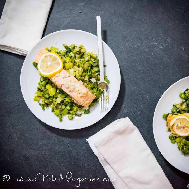 Keto Lemon Garlic Ghee Salmon with Leek Asparagus Ginger Saute
