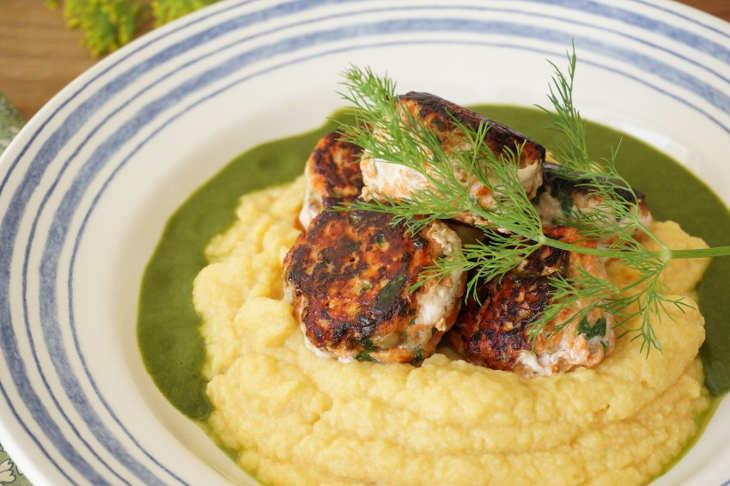 Salmon Fishballs With Herby Spinach Sauce And Cauli-Squash Mash