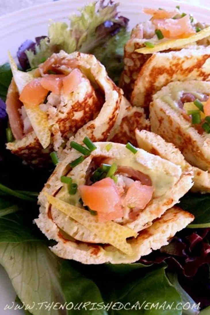 Smoked Salmon and Creamy Avocado Keto Wraps