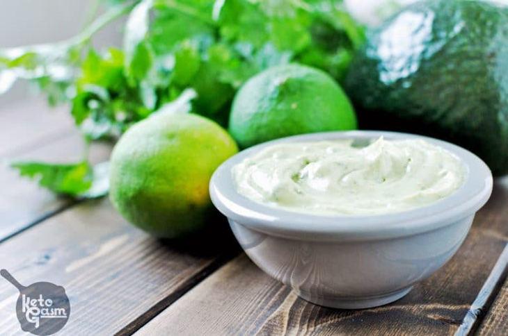 Avocado Cilantro Lime Mayonnaise - a Keto salad dressing
