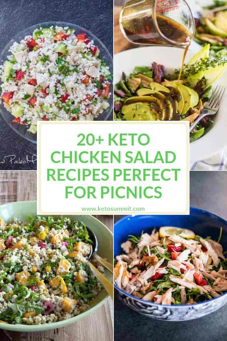 Keto Chicken Salad Recipes Collage https://ketosummit.com/keto-chicken-salad-recipes