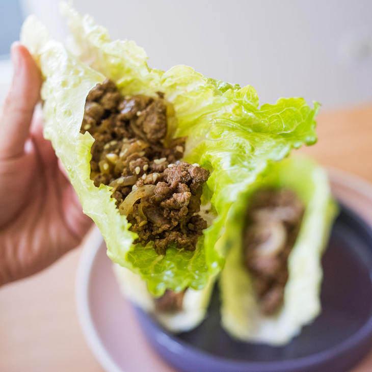 Keto Asian Ground Beef Lettuce Wraps