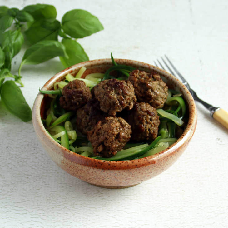 Keto Crockpot Spaghetti and Pesto Meatballs