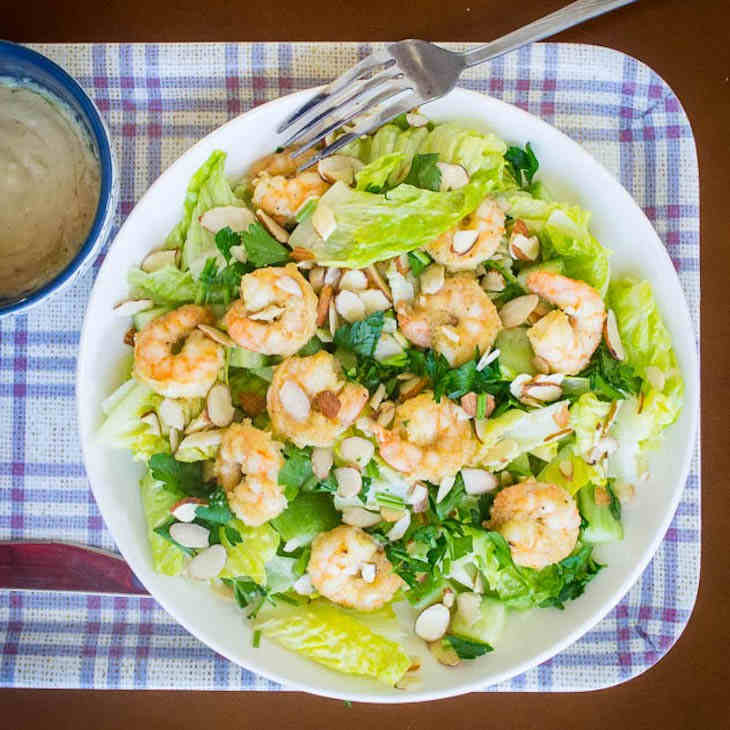 Garlic Shrimp Caesar Salad Recipe [Paleo, Keto]