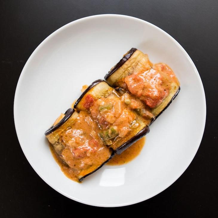 Keto Eggplant Chicken Enchiladas Recipe #keto https://ketosummit.com/keto-chicken-enchiladas-recipe