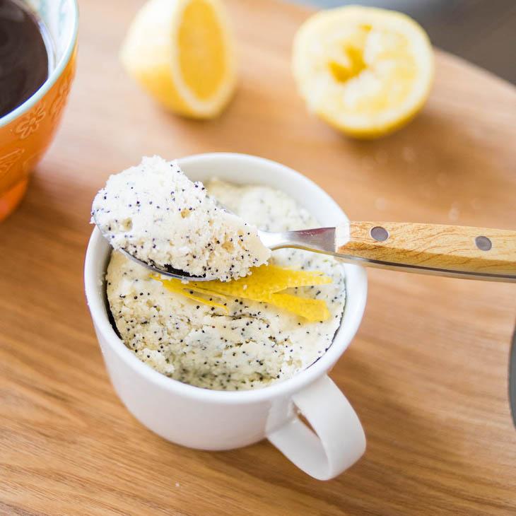 Keto Lemon Poppy Seed Mug Cake (Nut-Free) #recipe https://ketosummit.com/keto-lemon-poppy-seed-mug-cake-nut-free