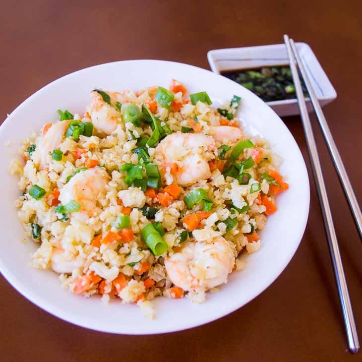 Keto Shrimp Fried Rice [Grain-free, Paleo]