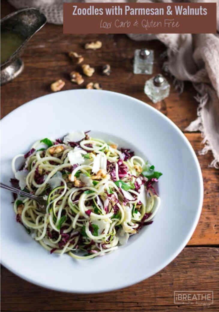Zucchini Noodles Salad with Parmesan & Walnuts