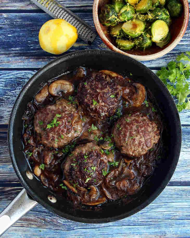Keto Salisbury Steak Recipe with Lemon Brussels Sprouts #keto https://ketosummit.com/keto-salisbury-steak-recipe-lemon-brussels-sprouts