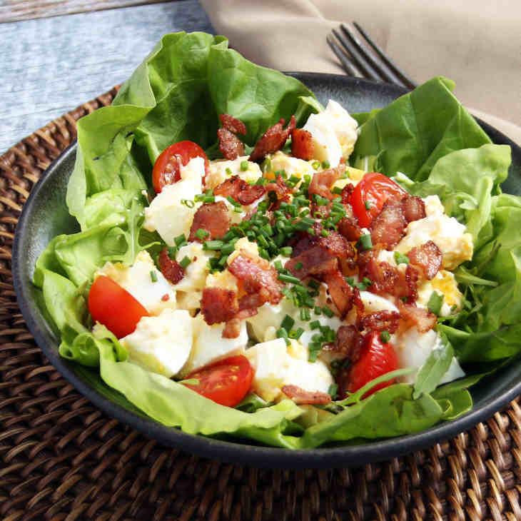 Keto Loaded Egg Salad Recipe #keto https://ketosummit.com/keto-loaded-egg-salad-recipe