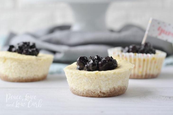 Mini Keto Blueberry Cheesecakes (Contains Dairy)