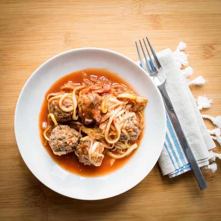 Paleo Italian Spaghetti Meatball Bake